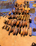 Traditional pillow-bench at handicrafts local market Kei Afer, Omo valley, Ethiopia Royalty Free Stock Images