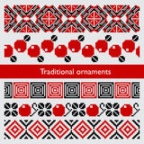 Traditional pixel seamless ornaments embroidery Royalty Free Stock Image