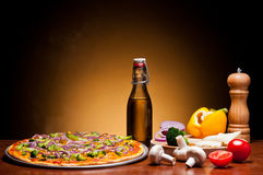 Traditional pizza with vegetables Royalty Free Stock Photography