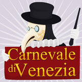 Traditional Plague Doctor Holding a Sign for Venice Carnival, Vector Illustration Stock Photos