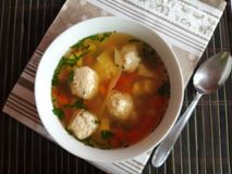 Meatballs soup. Ciorba de perisoare stock images