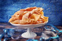 Traditional in Poland deep fried pastry faworki for carnival par Royalty Free Stock Images