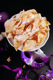 Traditional in Poland deep fried pastry faworki for carnival par Royalty Free Stock Photo