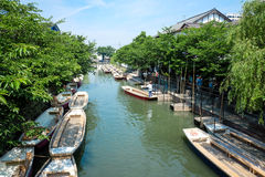 Traditional poled boat, parked at deck in Yanagawa,Jap Stock Image