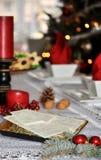 Traditional Polish Christmas table with white Christmas wafer. royalty free stock photo
