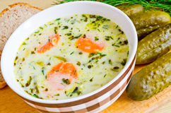 Traditional polish cucumber soup Royalty Free Stock Photos