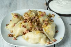 Traditional polish cuisine - delicious, homemade dumplings. Topped with fried onion and smoked bacon royalty free stock images