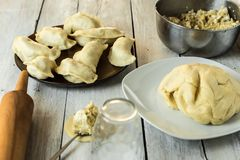 Traditional polish cuisine - delicious, homemade dumplings. Traditional polish cuisine - making delicious, homemade dumplings royalty free stock images