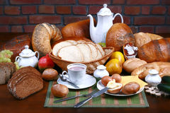 Traditional polish dinner. Fresh the bread-stuffs, hot coffe, the dairy produce Stock Photography
