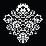 Traditional Polish folk art pattern on black - wzory lowickie, wycinanki Royalty Free Stock Photography