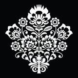 Traditional Polish folk art pattern on black - wzory lowickie, wycinanki Royalty Free Stock Photography