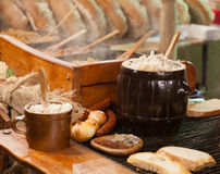 Traditional Polish food - Smalec. (fat with onions) at Christmas fair in Krakow stock photo