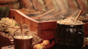 Traditional Polish food - Smalec (fat with onions) stock footage