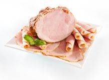 Traditional Polish fresh smoked ham. Fresh smoked ham isolated on white background stock photos