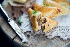 Traditional polish fried pierogi Stock Photos