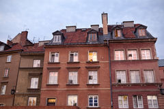 Traditional polish homes at dusk, Warsaw oldtown. Stock Image