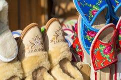 Traditional polish leather slipper on market in Zakopane, Poland Stock Photography