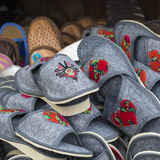 Traditional polish leather slipper on market in Zakopane, Poland Stock Images