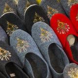 Traditional polish leather slipper on market in Zakopane, Poland Stock Photos