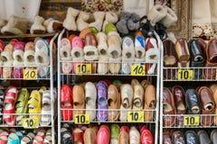 Traditional polish leather slipper on street market in Zakopane, Poland. 5 JULY 2016 ZAKOPANE, POLAND . Stock Images