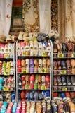 Traditional polish leather slipper on street market in Zakopane, Poland. 5 JULY 2016 ZAKOPANE, POLAND . Stock Photo
