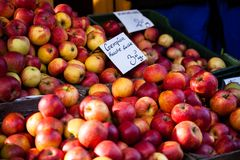 Traditional Polish market with fresh apples, Poland. Royalty Free Stock Photos