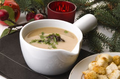 Traditional polish mushroom soup with cream Stock Photography
