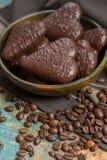 Traditional Polish pierniki, chocolate gingerbread. Traditional Polish pierniki, hearts from  chocolate gingerbread Royalty Free Stock Image