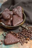 Traditional Polish pierniki, chocolate gingerbread. Traditional Polish pierniki, hearts from  chocolate gingerbread Stock Photo