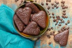 Traditional Polish pierniki, chocolate gingerbread. Traditional Polish pierniki, hearts from  chocolate gingerbread Royalty Free Stock Photo