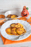 Traditional Polish pumpkin yeast pancakes (Racuchy) Stock Photography