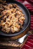 Traditional polish sauerkraut (bigos) with mushrooms and meat. Stock Photo