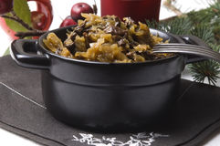 Traditional polish sauerkraut with mushrooms Stock Images