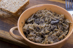 Traditional polish sauerkraut with mushrooms Stock Photo