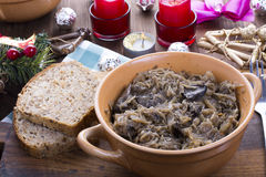 Traditional polish sauerkraut with mushrooms Stock Image