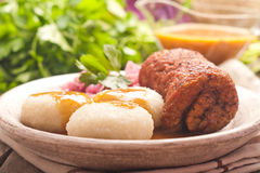 Traditional Polish, Silesian dish. Meat roulade with potato dump Stock Photography