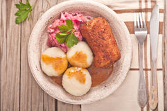 Traditional Polish, Silesian dish. Meat roulade with potato dump Royalty Free Stock Image