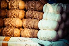 Traditional polish smoked cheese oscypek on outdoor market in Zakopane Royalty Free Stock Image