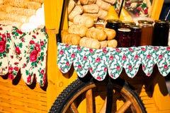 Traditional polish smoked cheese oscypek on outdoor market in Zakopane royalty free stock photography