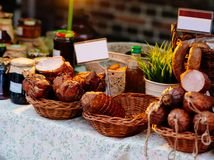 Traditional Polish smoked ham and sausages Stock Images