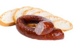 Traditional Polish smoked sausage Royalty Free Stock Image