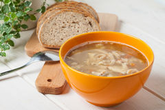 Traditional polish tripe soup with vegetables. Stock Photography