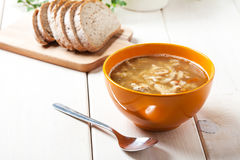Traditional polish tripe soup with vegetables. Stock Images