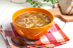Traditional polish tripe soup with vegetables. Royalty Free Stock Photography