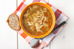 Traditional polish tripe soup with vegetables. Royalty Free Stock Photo