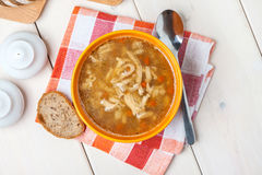 Traditional polish tripe soup with vegetables. Stock Image
