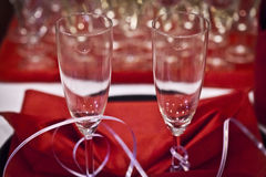 Traditional polish wedding champagne detail. Wedding sparkling wine, champagne detail - traditional toast inviting to Bride and Groom Royalty Free Stock Photography