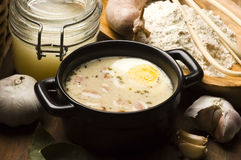 Traditional Polish White Borscht For Easter Stock Images