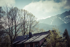 Traditional polish wooden hut from Zakopane, Poland. Stock Photography