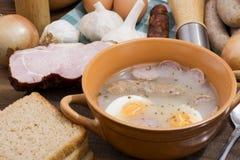 Traditional polish Zurek, easter soup. Royalty Free Stock Image